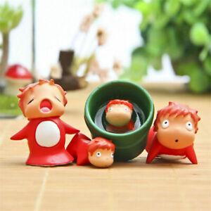 4 un. Studio Ghibli Ponyo en el acantilado de Resina Mini Figura Juguete Decoración Hogar Jardín