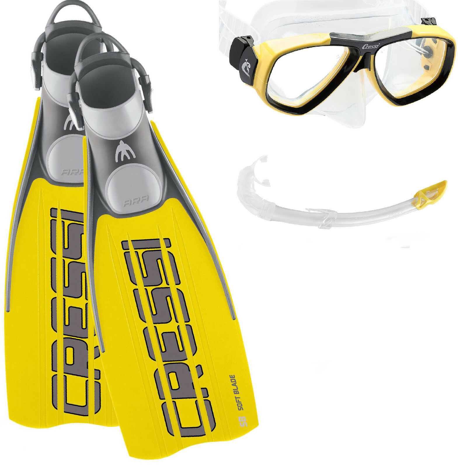 LO3 KIT CRESSI SUB FINS EBS YELLOW  +MASK FOCUS CLEAR SILICONE  YELLOW + SNORKEL