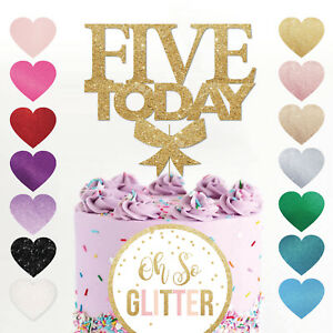 Image Is Loading 5th Birthday Cake Topper FIVE Glitter Any Age
