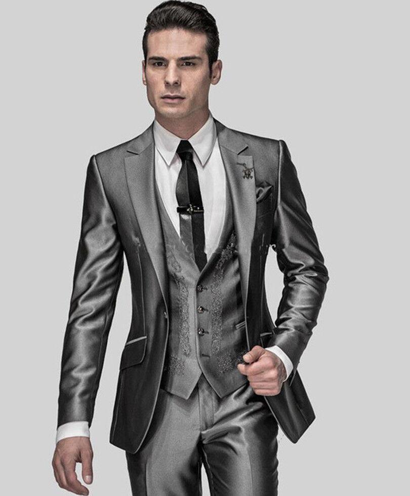Shiny Grey Man Suit Notch Lapel Groomsman Men Wedding Suits Groom Tuxedos