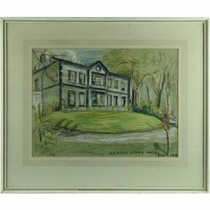 Signed-Original-Pastel-Painting-Margaret-Ricketts-Veryan-Green-Hotel-Cornwall