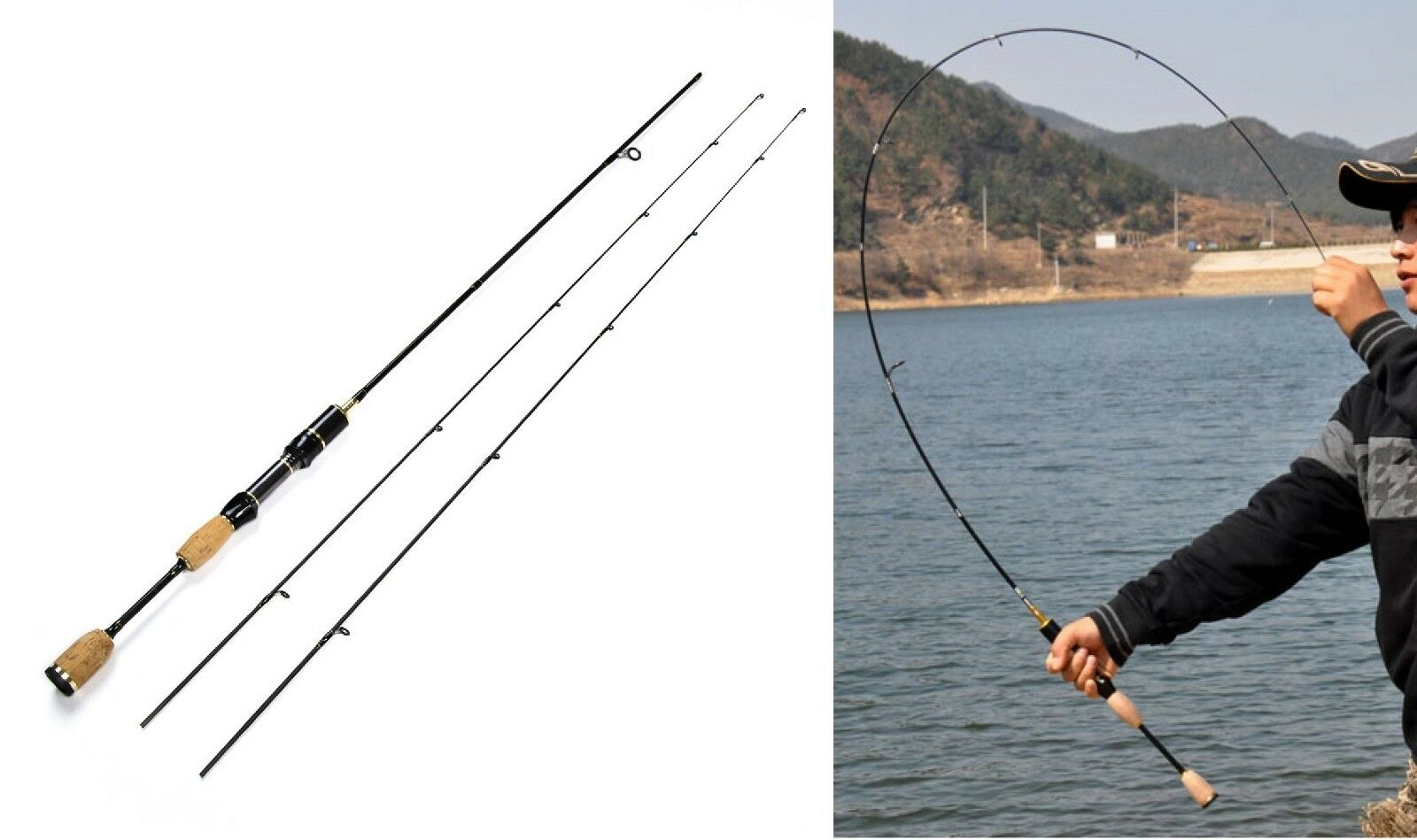 Spinning Fishing Rod 1.8m Carbon Fiber 0.8-5g Lure Pole Portable Ultra Light Rod