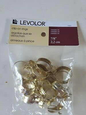 Levolor Clip-On Cafe Rings 14 Use On5//8Rods 7//8 Dia Pack Brass