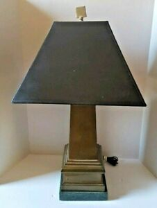 Vintage Wildwood Lamp Brass Finial Green Marble Base & Original Shade
