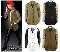 NEW WOMENS KHAKI GOLD GREEN SEQUIN SLEEVE LADIES MILITARY COAT JACKET 8-10-12-14