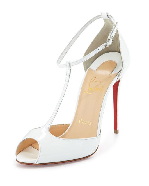 new product 39986 2b7b8 100 Auth Women Louboutin Senora 100 White Patent T-strap Pumps/heels US 8