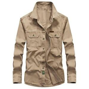 Mens-Military-Army-Outdoor-Tactical-Work-Shirt-Long-Sleeve-Uniform-Overall-Shirt