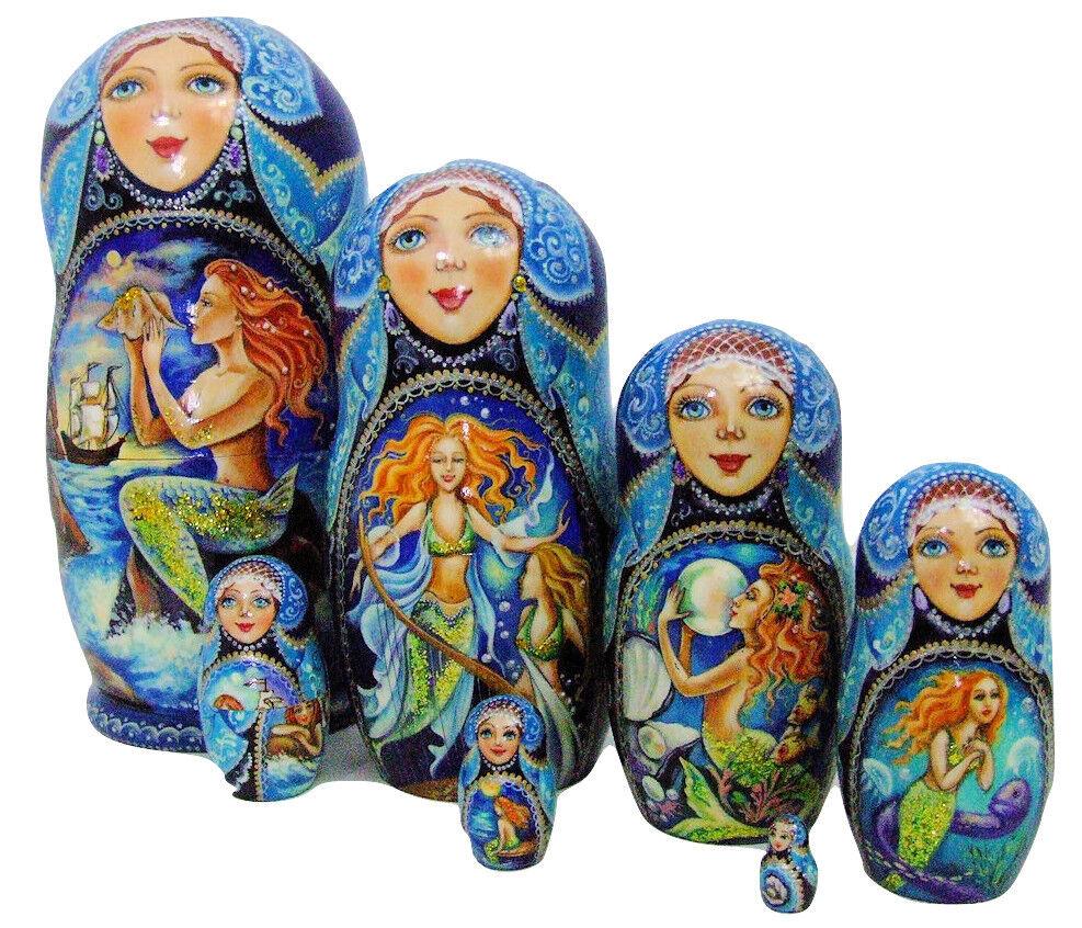 7pcs One Of A Kind Peint à la Main Poupées Russes Imbriquées   Sirènes   Par