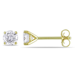 2 mm Round Diamond Tiny Stud Earrings in 10k Yellow gold ~ Gift box incl.