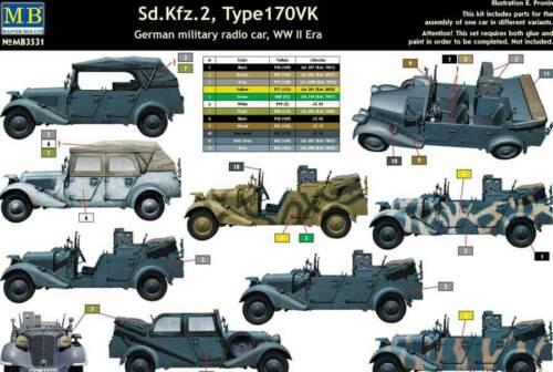 MasterBox German military Radio Car Sd.Kfz.2 Type 170VK 1:35 Modell-Bausatz kit