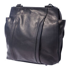Shoulder Bag Italian Genuine Leather Hand made in Italy Florence B017 bk