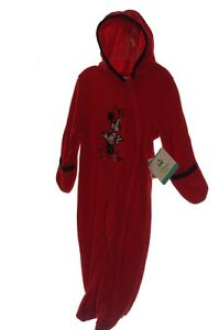 eda0b2d86 Disney MINNIE MOUSE Red Baby Girls Hooded Fleece Bodysuit BUNTING 6 ...