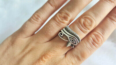 Egyptian Eye of Horus 14K Yellow Gold Over Sterling Silver Symbolic Fashion Ring