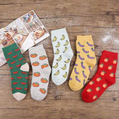 Lovely Cute Women Rabbit Hair Blend Socks Fruit Pattern Casual Sport Short Socks