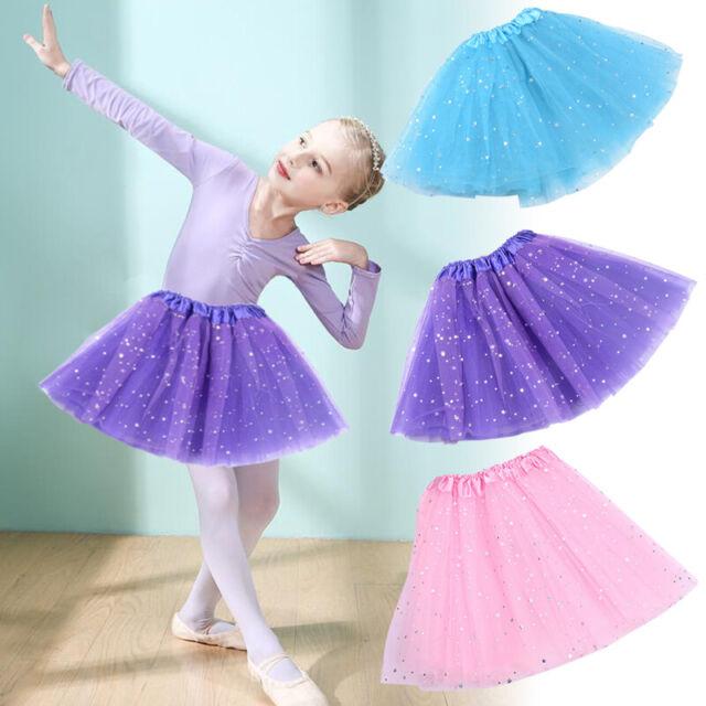 Kids Girl Glitter Tulle Tutu Skirt Sequin Mesh Skirt Dance Ballet Princess Dress