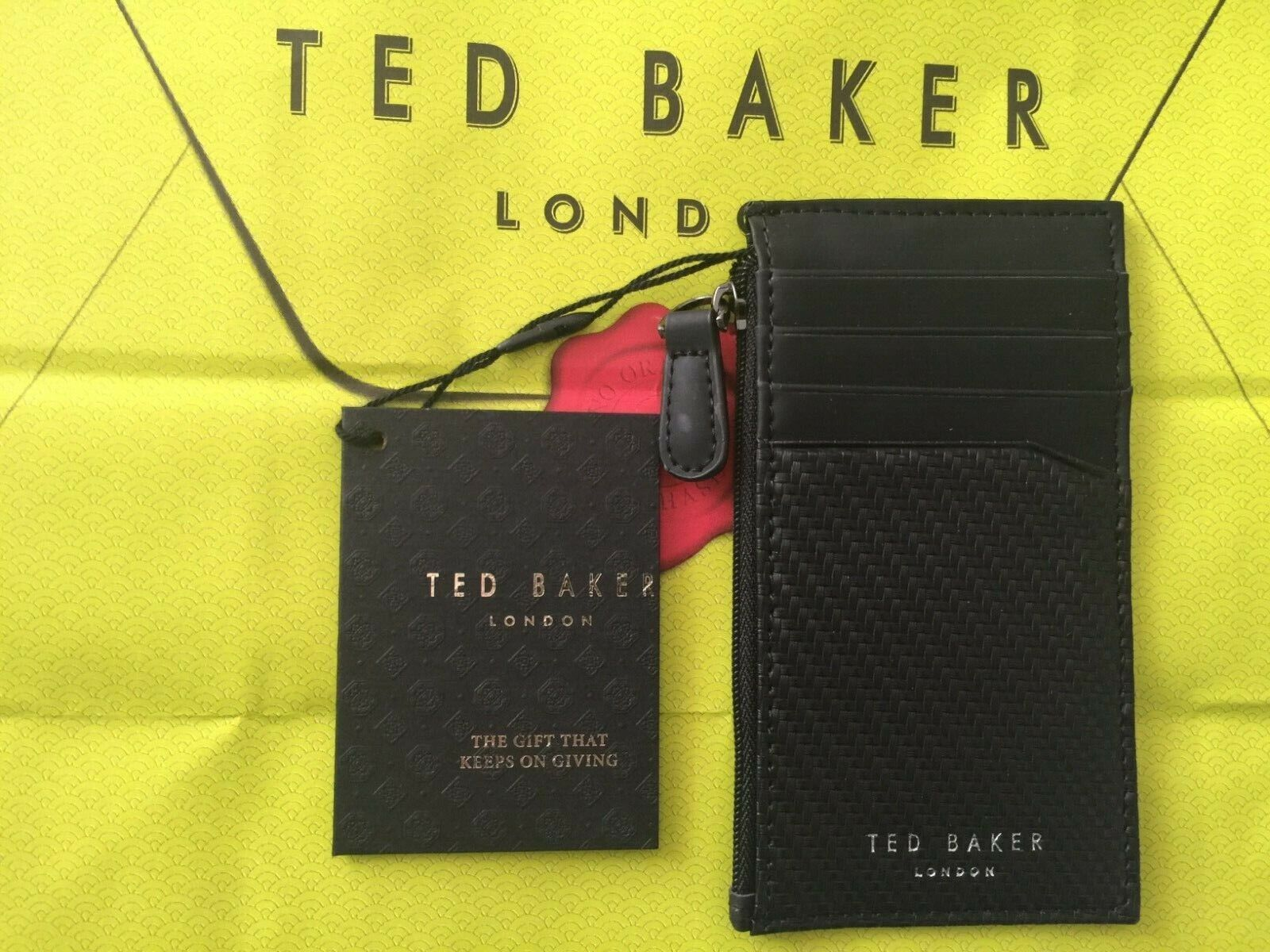 TED BAKER LONDON Mens Black Leather Zipped Card Oyster Holder Brand New