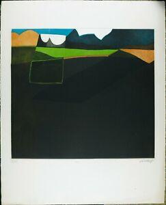 Engraving-Print-by-Bertrand-Dorny-1970s-Vintage-Abstract-Print-Silkscreen