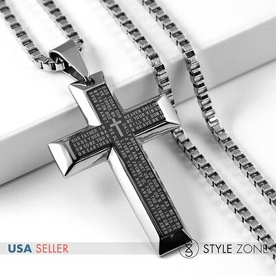 Men's Stainless Steel Bible Scriptures Black Cross Pendant Necklace Cool NEW 11H