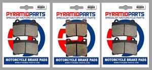 Front & Rear Brake Pads (3 Pairs) for Yamaha FZ 750 Genesis 89-92