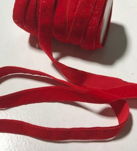 Vintage French Rayon VELVET Ribbon Taffeta Back SCARLET RED 5//8 inch