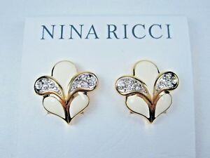 ab94260e4 Nina Ricci Gold Plated Clip-on Earrings with Swarovski Crystals ...
