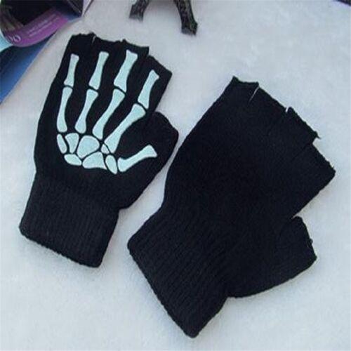 New Cycling Motorcycle Skull Skeleton Half Finger Fingerless Sport Gloves Large