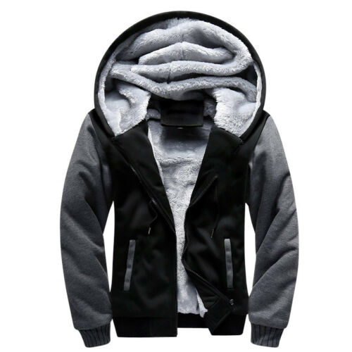 Winter Men Fur Lined Hoodie Jacket Thick Sherpa Fleece Hooded Sweater Parka Coat