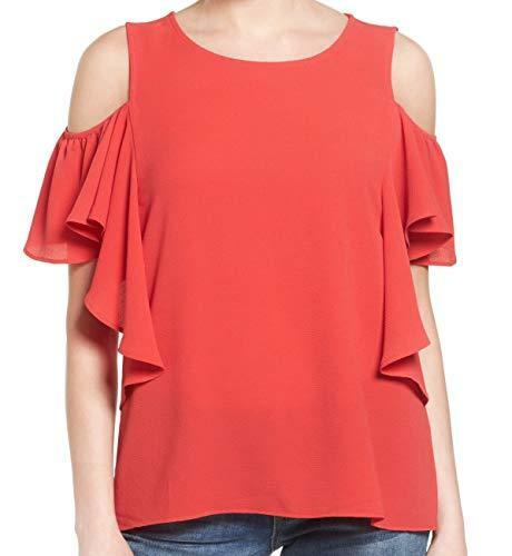 Bobeau Women's Petite Cold Shoulder Ruffle Sleeve Top (XXSP, Red Saucy W4669)