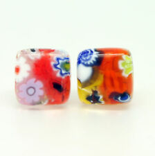 Multi-Coloured Handmade Authentic Murano Venetian Glass Stud Earrings