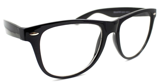 Two Tone Black Purple Geek Clear Lens Glasses 80/'s Large Horn Rimmed Style Frame