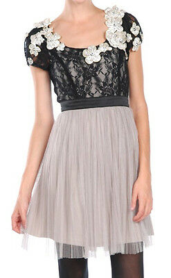 ModCloth RYU vintage romantic black & gray dress-mesh overlay, flowers, sparkle!