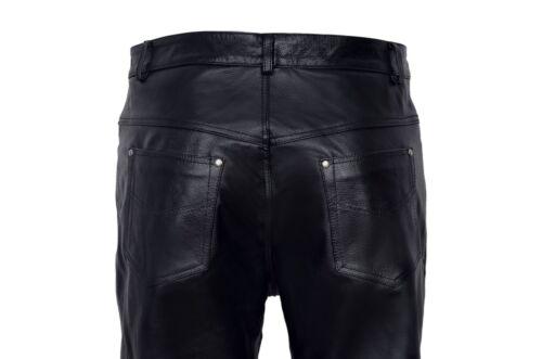 Da Uomo Nera in Pelle Vera Pelle Semplice Stile Biker Moto Jeans Pantaloni SOA