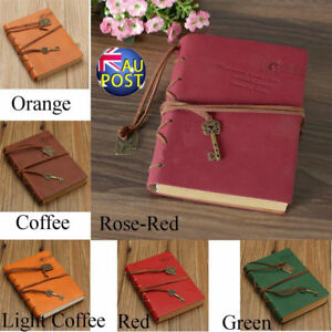 Retro Classic Leather Bound Blank Pages Journal Diary Notebook Sketchbook ON