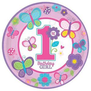 Image is loading 8pk-Sweet-Girl-1st-Birthday-Plates-Pink-Butterfly-  sc 1 st  eBay & 8pk Sweet Girl 1st Birthday Plates Pink Butterfly Birthday Party ...