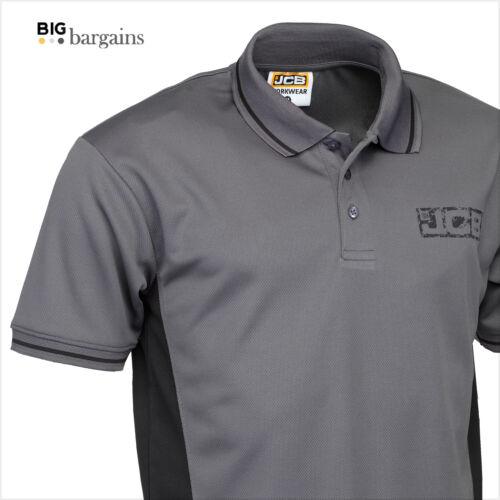 JCB Mens Short Sleeve Polo Shirt Work Top T-Shirt High performance Anti-Bact Top