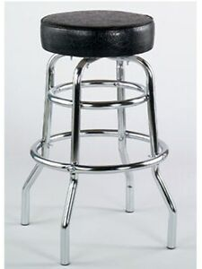 Fabulous Details About Double Ring Metal Bar Stool Black Vinyl Beatyapartments Chair Design Images Beatyapartmentscom