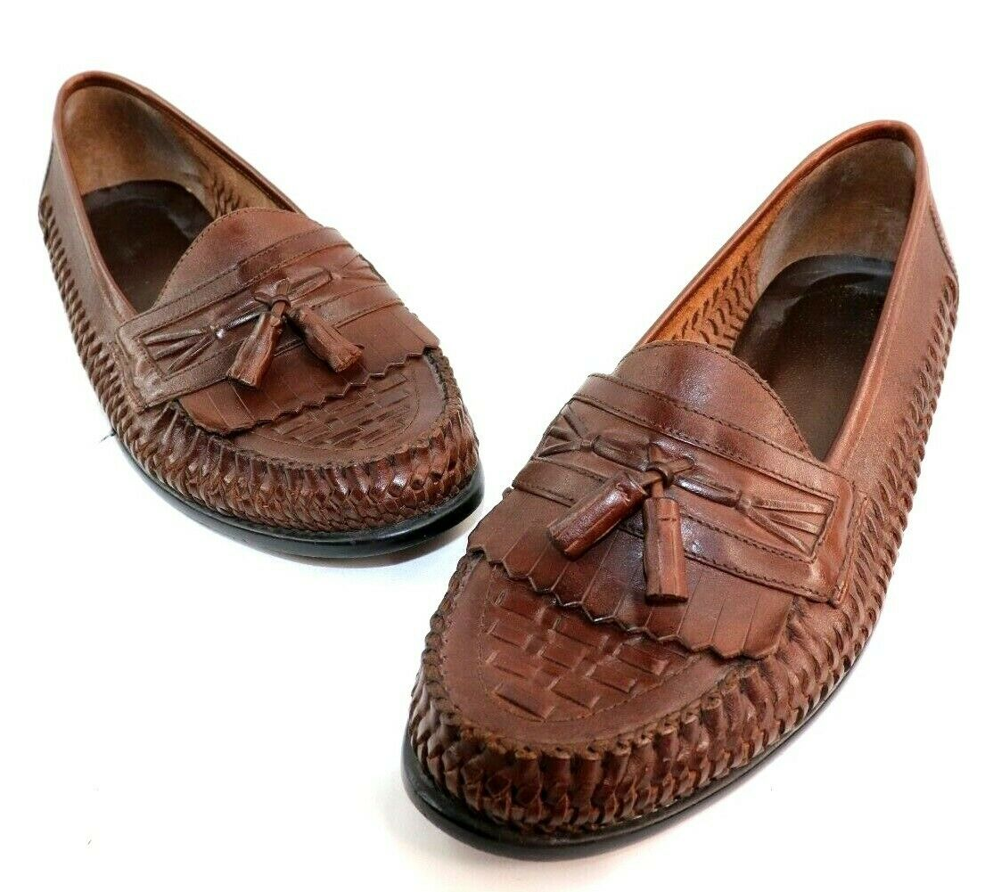 Nunn Bush Mens Basket Weave Moc Toe Leather Tassel Casual Slip On Size 11.5