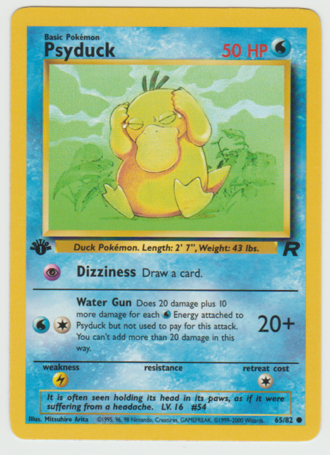 Pokemon PSYDUCK Card TEAM ROCKET Set 65//82 First Ed PLAYED PL 1st edition