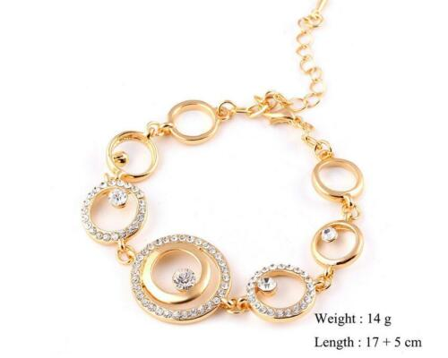Fashion jolie taille Cercle Interlock Bracelet Artificiel Crytal amant cadeau