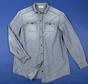Alysi-camicia-donna-usato-tg-42-W28-shirt-manica-lunga-leggera-denim-blu-T5357