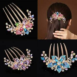 Elegant-Ladies-Rhinestone-Inlaid-Flower-Hair-Comb-Hairpin-Headwear-Accessory-New