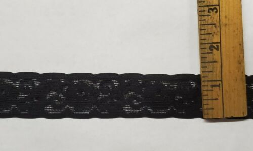 """Black 1 1//8/"""" Wide Elastic Lace for Lingerie or Crafts 20 yards = $10.00"""