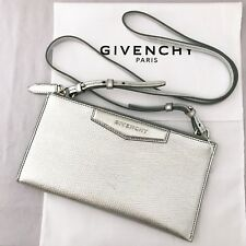dd6a5f50f77 Givenchy AUTH Metallic Silver Leather Antigona Crossbody Pouch Wallet  Clutch Bag