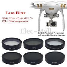 6pcs ND4+ND8+ND16+MC-UV+CPL+Filter Lens Protector Cap For DJI Phantom 3/4 Camera