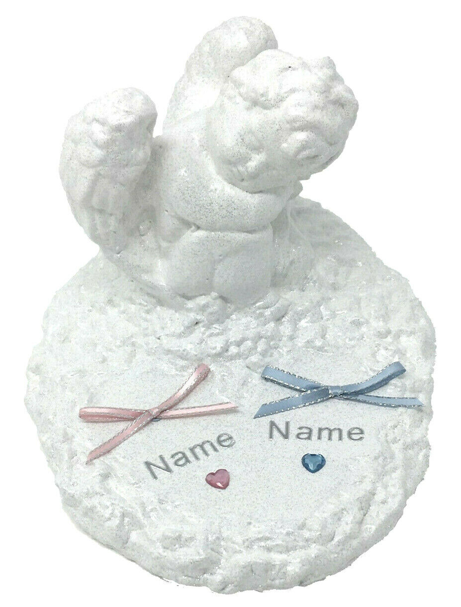 Personalised Angel Baby Cherub Grave Memorial Plaque Ornament Girls Pink Tribute