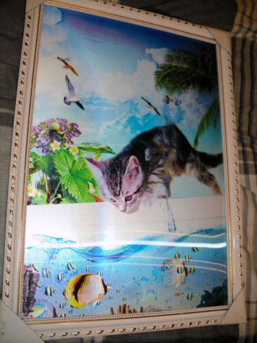 Encadrée 3 changement chaton la capture de poissons 3 photos dans une nouvelle image hd 35x50cm