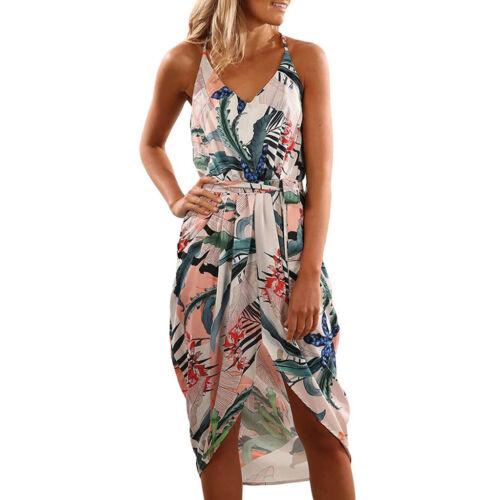 Women Summer VNeck Strap Floral Print Split Beach Boho Vest Sundress Tunic Dress