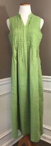J-Jill-S-Lime-Green-Sleeveless-100-Linen-Relaxed-Fit-Full-Length-Dress
