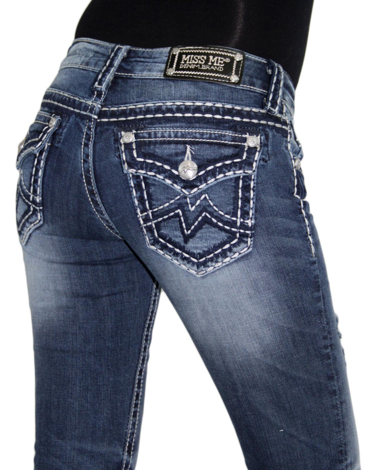 9fd4ce6a2d54 NWT MISS ME Women's M Big Stitch Distressed bluee MED 144 Boot Cut Jeans