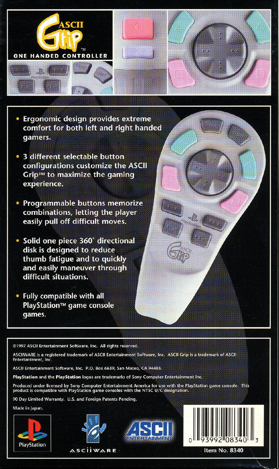 ASCII Grip One Handed PlayStation Ps1 Controller